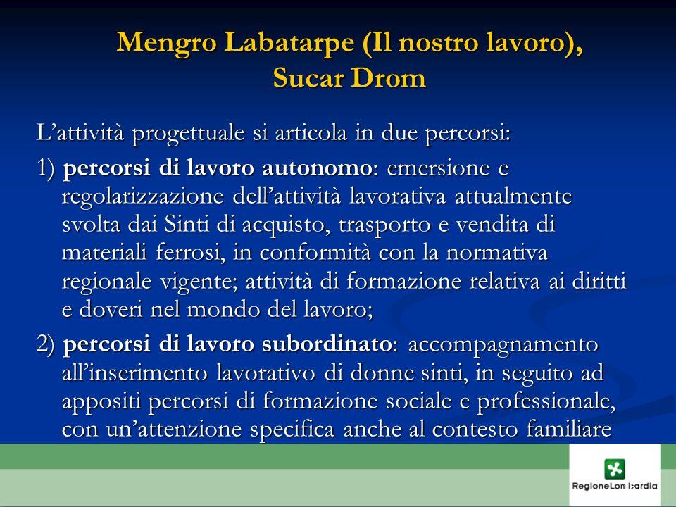 Mengro Labatarpe (Il nostro lavoro), Sucar Drom Lattività progettuale si articola in due percorsi: 1) percorsi di lavoro autonomo: emersione e regolar