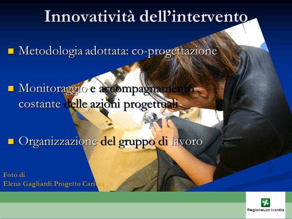 Innovatività dellintervento Metodologia adottata: co-progettazione Metodologia adottata: co-progettazione Monitoraggio e accompagnamento costante dell