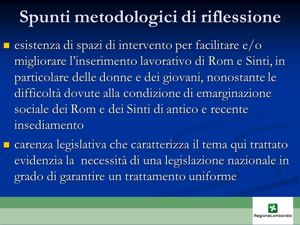 Spunti metodologici di riflessione esistenza di spazi di intervento per facilitare e/o migliorare linserimento lavorativo di Rom e Sinti, in particola