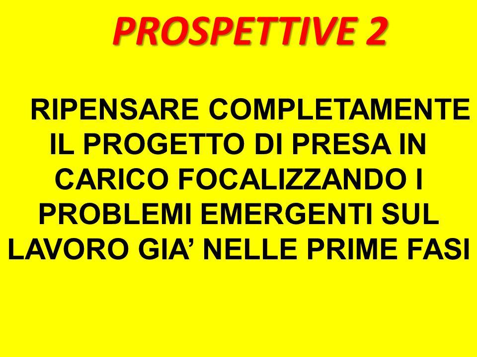 PROSPETTIVE 2 RIPENSARE COMPLETAMENTE IL PROGETTO DI PRESA IN CARICO FOCALIZZANDO I PROBLEMI EMERGENTI SUL LAVORO GIA NELLE PRIME FASI