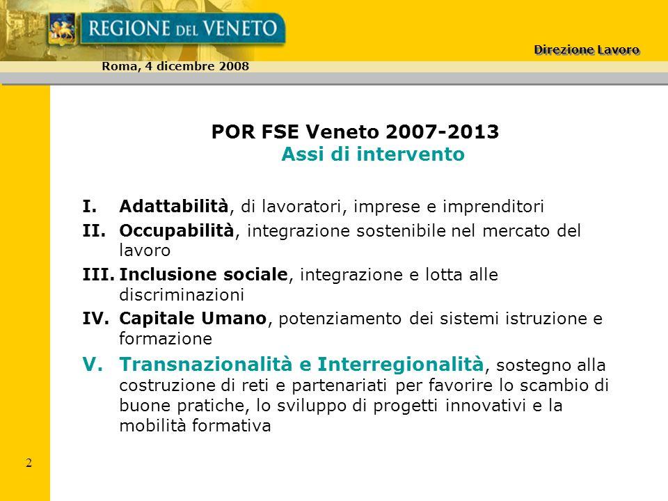 Direzione Lavoro Roma, 4 dicembre 2008 3 POR FSE Veneto 2007-2013 Risorse Asse V Transnazionalità Per lintero periodo di programmazione 2007-2013 11.252.156 Per il primo biennio 2007-2008 4.346.756 pari al 2% del totale POR