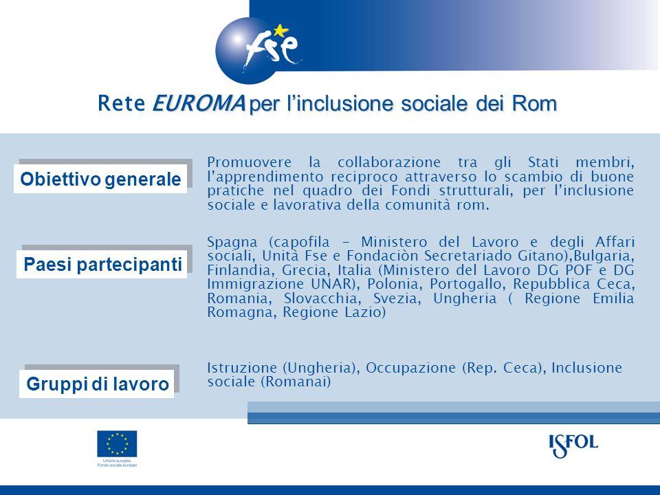 Promuovere la collaborazione tra gli Stati membri, lapprendimento reciproco attraverso lo scambio di buone pratiche nel quadro dei Fondi strutturali, per linclusione sociale e lavorativa della comunità rom.