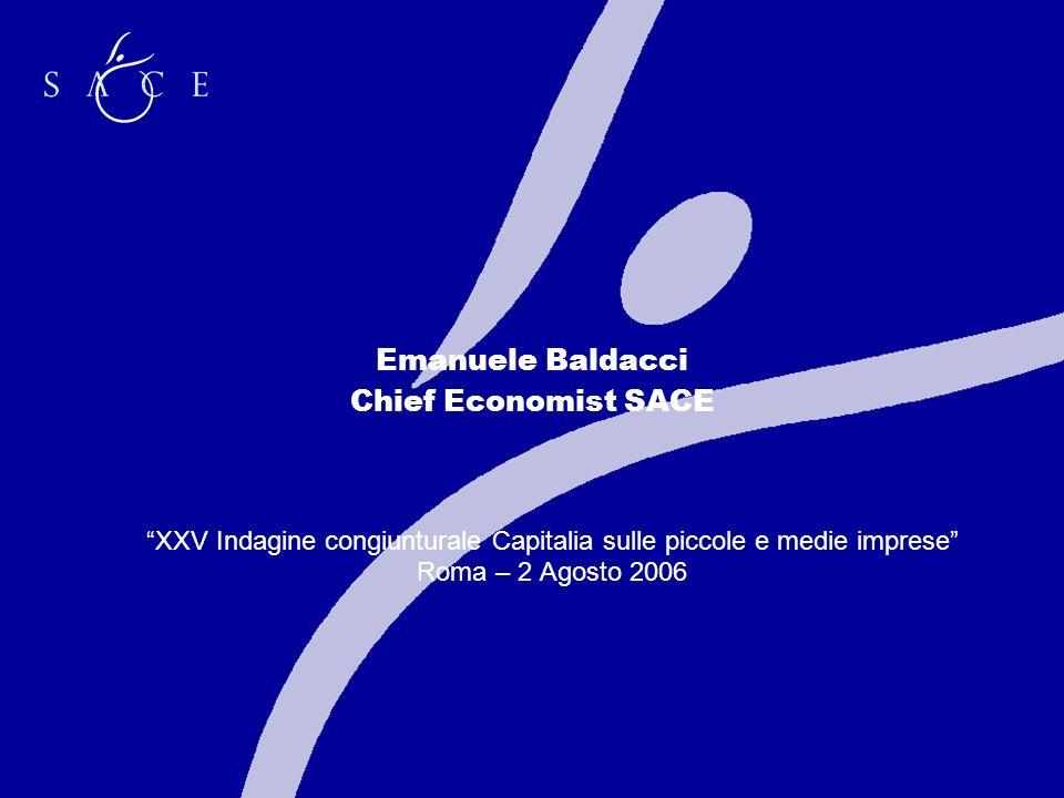 Emanuele Baldacci Chief Economist SACE XXV Indagine congiunturale Capitalia sulle piccole e medie imprese Roma – 2 Agosto 2006