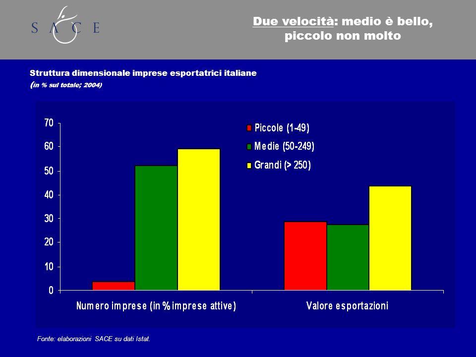 Struttura dimensionale imprese esportatrici italiane ( in % sul totale; 2004) Fonte: elaborazioni SACE su dati Istat.