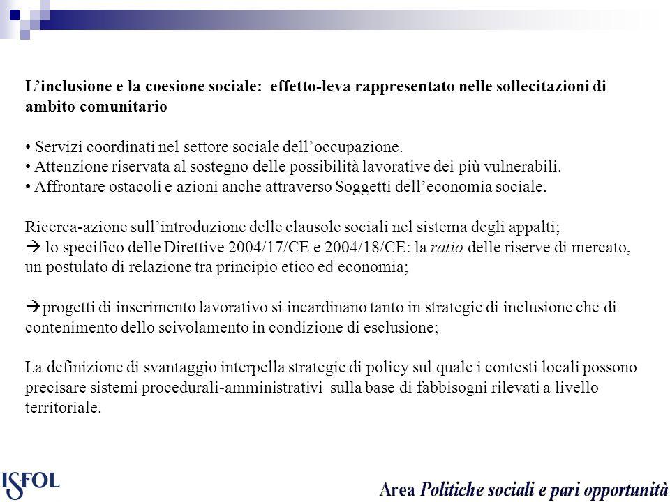 Linclusione e la coesione sociale: effetto-leva rappresentato nelle sollecitazioni di ambito comunitario Servizi coordinati nel settore sociale delloc