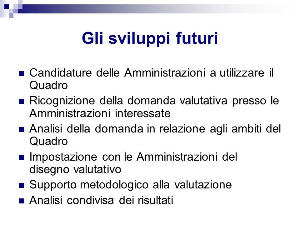 Gli sviluppi futuri Candidature delle Amministrazioni a utilizzare il Quadro Ricognizione della domanda valutativa presso le Amministrazioni interessa
