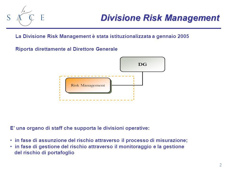 2 Divisione Risk Management La Divisione Risk Management è stata istituzionalizzata a gennaio 2005 Riporta direttamente al Direttore Generale E una or