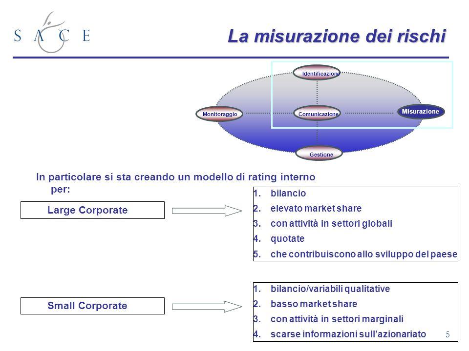 5 Monitoraggio Gestione Identificazione Comunicazione Misurazione La misurazione dei rischi In particolare si sta creando un modello di rating interno