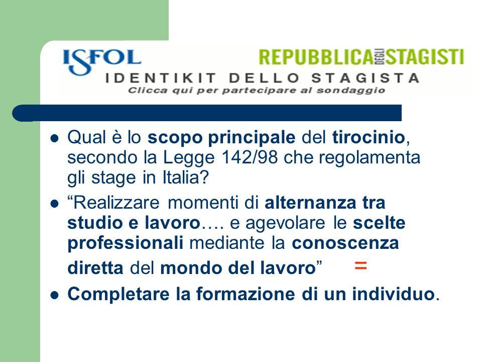 Qual è lo scopo principale del tirocinio, secondo la Legge 142/98 che regolamenta gli stage in Italia.