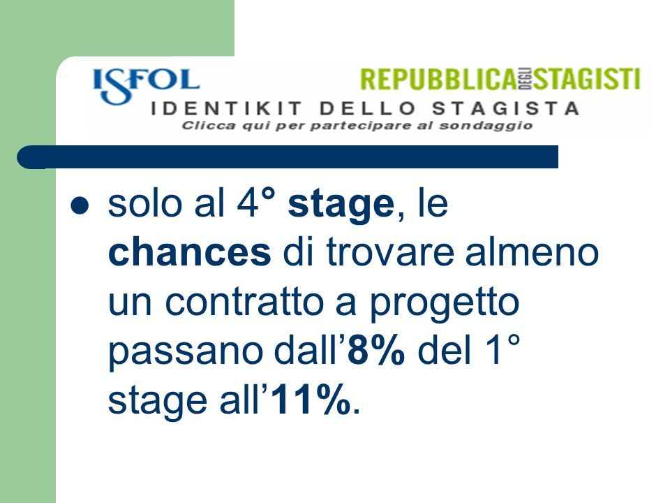 solo al 4° stage, le chances di trovare almeno un contratto a progetto passano dall8% del 1° stage all11%.