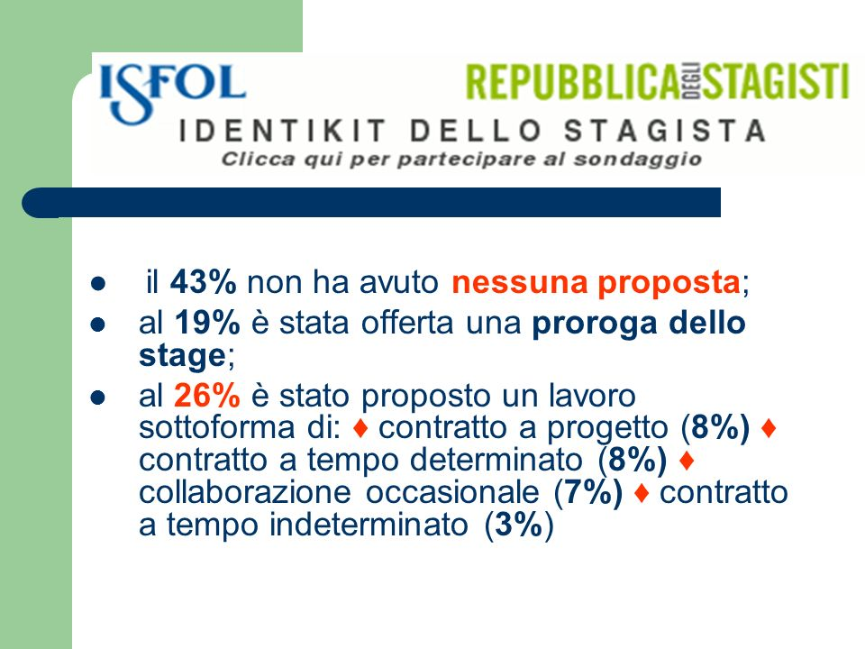 il 43% non ha avuto nessuna proposta; al 19% è stata offerta una proroga dello stage; al 26% è stato proposto un lavoro sottoforma di: contratto a progetto (8%) contratto a tempo determinato (8%) collaborazione occasionale (7%) contratto a tempo indeterminato (3%)