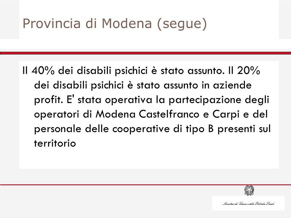 Ministero del Lavoro e delle Politiche Sociali Provincia di Modena (segue) Il 40% dei disabili psichici è stato assunto.