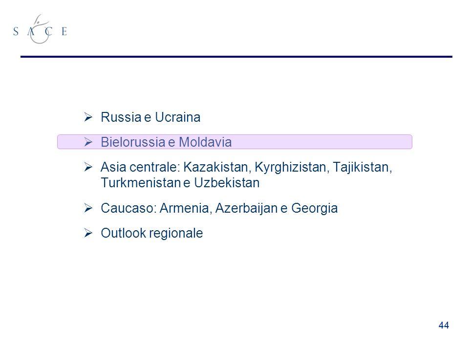 44 Russia e Ucraina Bielorussia e Moldavia Asia centrale: Kazakistan, Kyrghizistan, Tajikistan, Turkmenistan e Uzbekistan Caucaso: Armenia, Azerbaijan e Georgia Outlook regionale