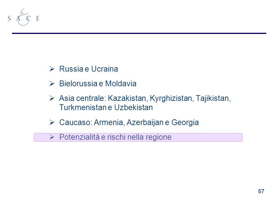 57 Russia e Ucraina Bielorussia e Moldavia Asia centrale: Kazakistan, Kyrghizistan, Tajikistan, Turkmenistan e Uzbekistan Caucaso: Armenia, Azerbaijan e Georgia Potenzialità e rischi nella regione