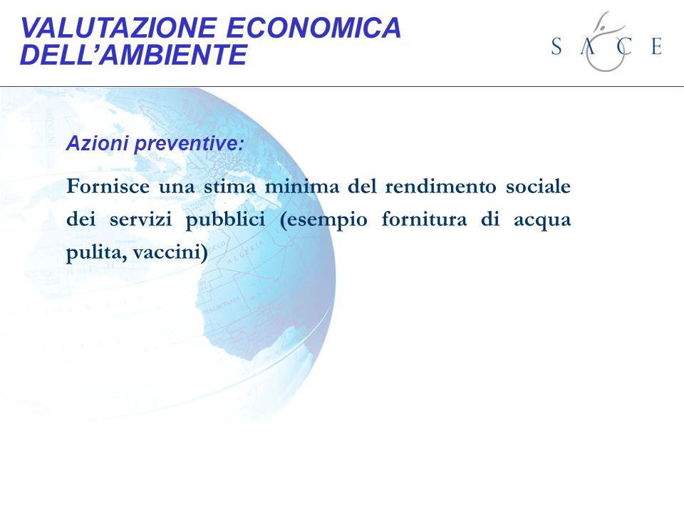 Azioni preventive: Fornisce una stima minima del rendimento sociale dei servizi pubblici (esempio fornitura di acqua pulita, vaccini) VALUTAZIONE ECON