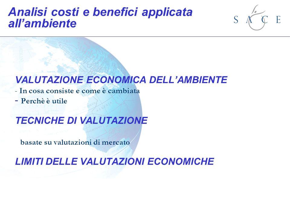 Analisi costi e benefici applicata allambiente VALUTAZIONE ECONOMICA DELLAMBIENTE - In cosa consiste e come è cambiata - Perchè è utile TECNICHE DI VA