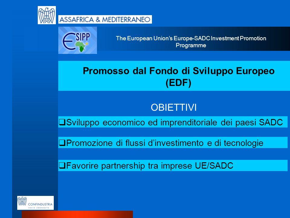 The European Unions Europe-SADC Investment Promotion Programme Promosso dal Fondo di Sviluppo Europeo (EDF) Sviluppo economico ed imprenditoriale dei