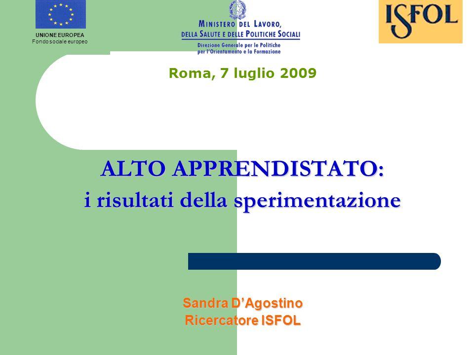 Roma, 7 luglio 2009 ALTO APPRENDISTATO: i risultati della sperimentazione Sandra DAgostino Ricercatore ISFOL UNIONE EUROPEA Fondo sociale europeo
