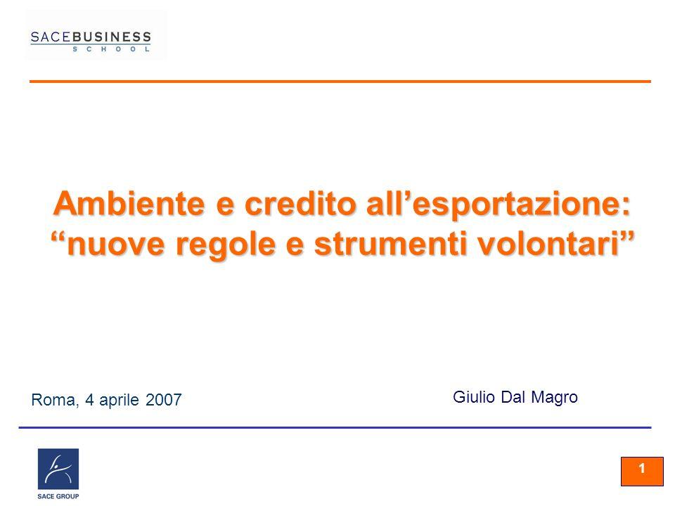 11 1 Roma, 4 aprile 2007 Giulio Dal Magro Ambiente e credito allesportazione: nuove regole e strumenti volontari