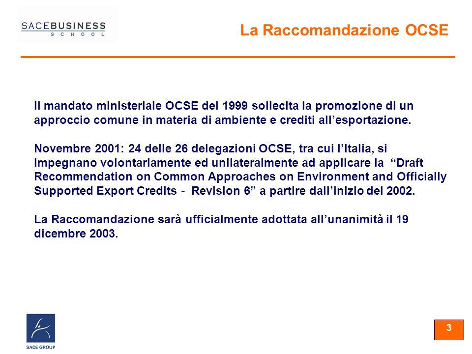 33 3 Il mandato ministeriale OCSE del 1999 sollecita la promozione di un approccio comune in materia di ambiente e crediti allesportazione.