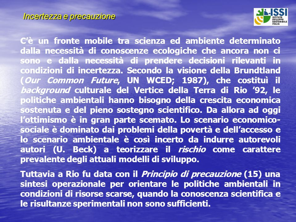 Origini dellatteggiamento precauzionale Il medico J.