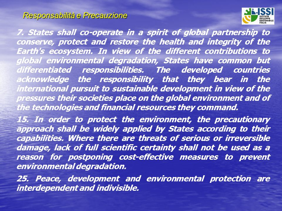 Responsabilità e Precauzione 7. States shall co-operate in a spirit of global partnership to conserve, protect and restore the health and integrity of