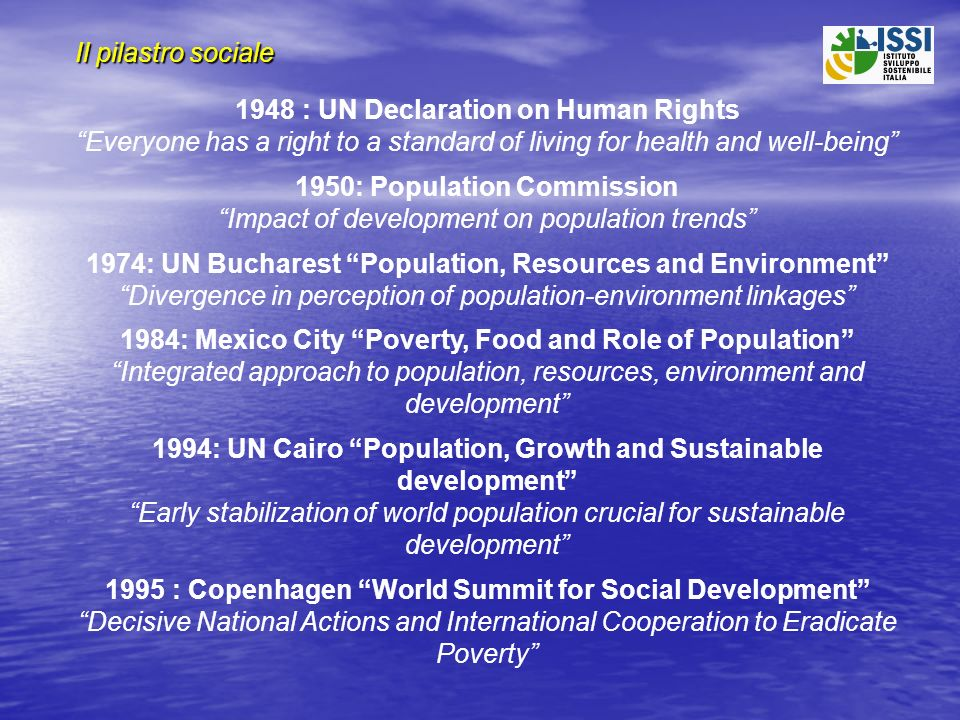 Il pilastro sociale 1948 : UN Declaration on Human Rights Everyone has a right to a standard of living for health and well-being 1950: Population Comm