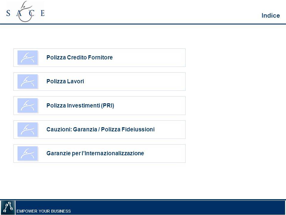 EMPOWER YOUR BUSINESS Polizza Credito Fornitore Indice Polizza Lavori Garanzie per lInternazionalizzazione Cauzioni: Garanzia / Polizza Fideiussioni Polizza Investimenti (PRI)