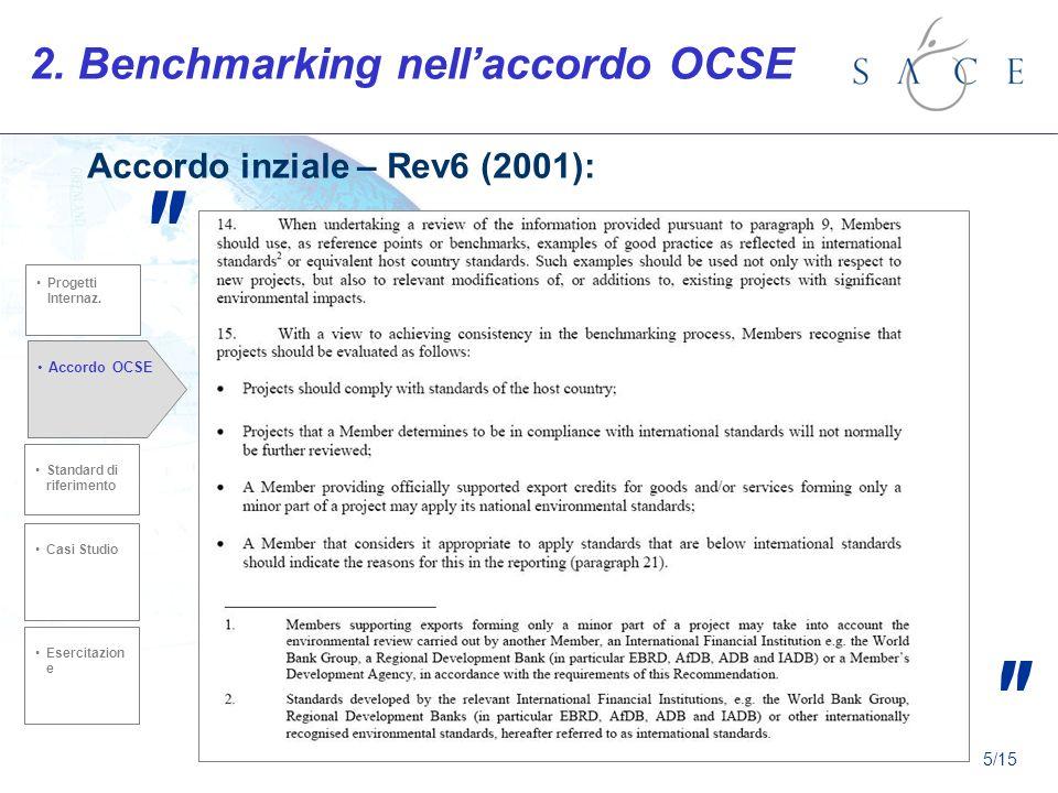 2. Benchmarking nellaccordo OCSE Accordo inziale – Rev6 (2001): Standard di riferimento Casi Studio Accordo OCSE Esercitazion e Progetti Internaz. 5/1