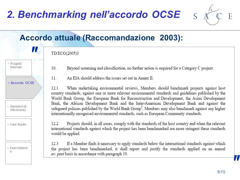 2. Benchmarking nellaccordo OCSE Accordo attuale (Raccomandazione 2003): Standard di riferimento Casi Studio Accordo OCSE Esercitazion e Progetti Inte