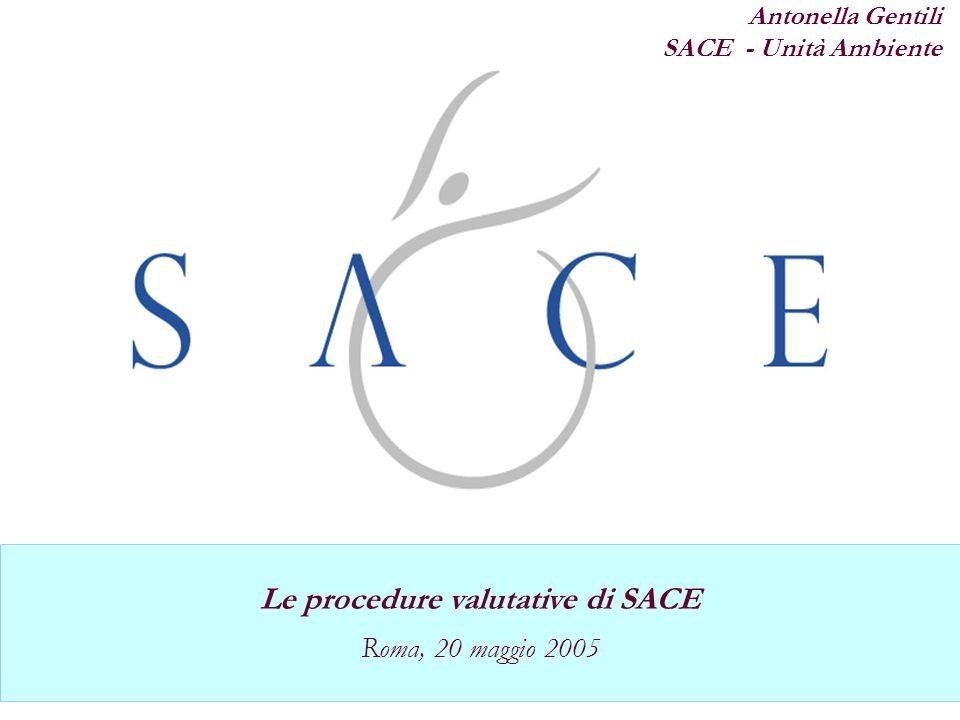 Polizza Credito Fornitore Le procedure valutative di SACE Roma, 20 maggio 2005 Antonella Gentili SACE - Unità Ambiente