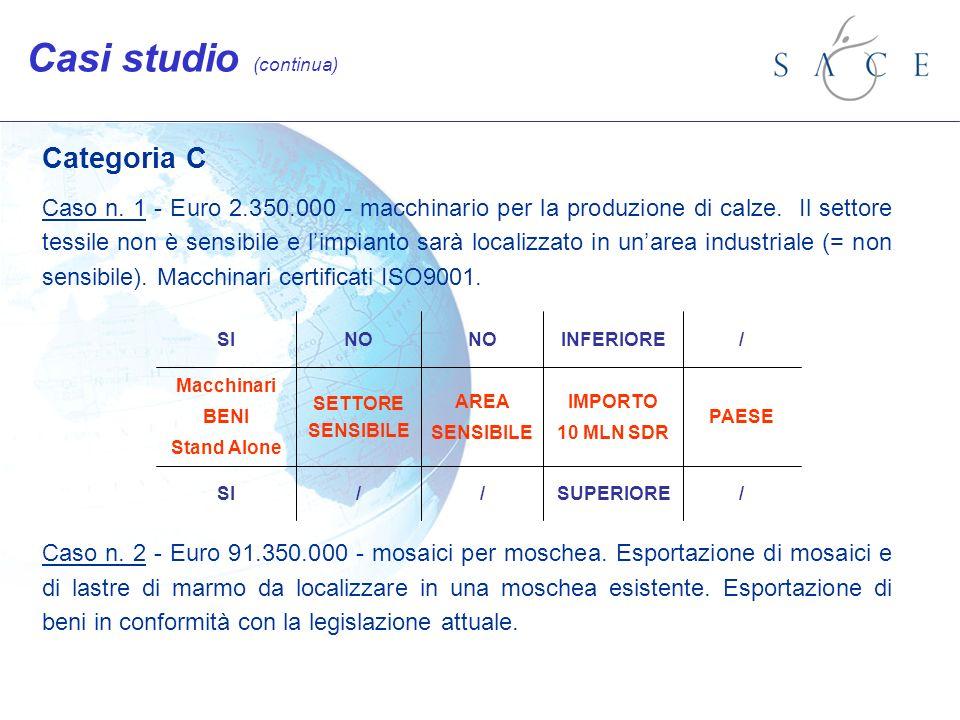 Categoria C Caso n. 1 - Euro 2.350.000 - macchinario per la produzione di calze. Il settore tessile non è sensibile e limpianto sarà localizzato in un