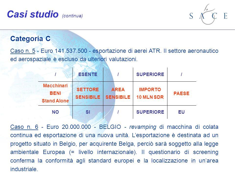 Categoria C Caso n. 5 - Euro 141.537.500 - esportazione di aerei ATR. Il settore aeronautico ed aerospaziale è escluso da ulteriori valutazioni. Caso