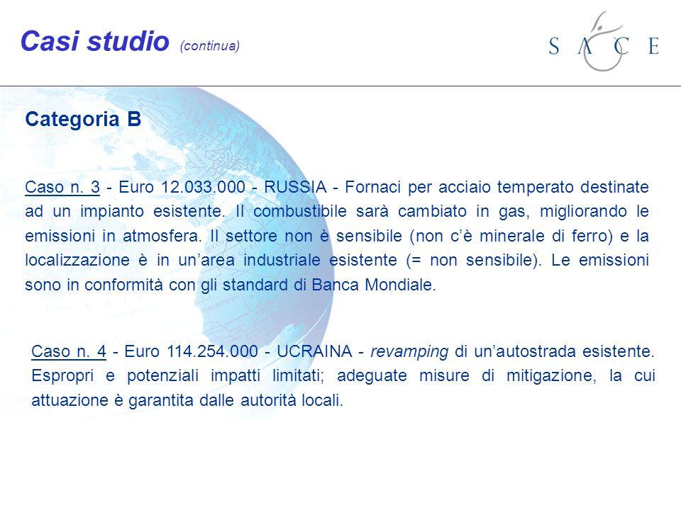 Categoria B Caso n. 3 - Euro 12.033.000 - RUSSIA - Fornaci per acciaio temperato destinate ad un impianto esistente. Il combustibile sarà cambiato in
