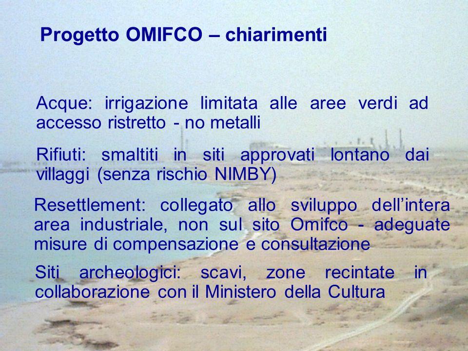 Progetto OMIFCO – chiarimenti Siti archeologici: scavi, zone recintate in collaborazione con il Ministero della Cultura Acque: irrigazione limitata al