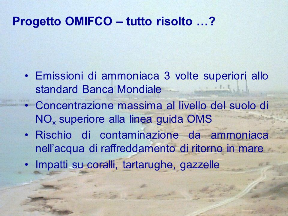 Progetto OMIFCO – tutto risolto …? Emissioni di ammoniaca 3 volte superiori allo standard Banca Mondiale Concentrazione massima al livello del suolo d