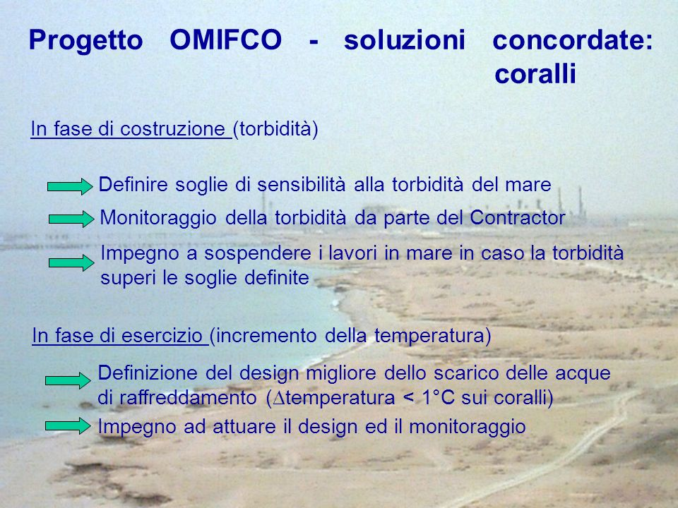 In fase di costruzione (torbidità) Definire soglie di sensibilità alla torbidità del mare Monitoraggio della torbidità da parte del Contractor Impegno a sospendere i lavori in mare in caso la torbidità superi le soglie definite In fase di esercizio (incremento della temperatura) Definizione del design migliore dello scarico delle acque di raffreddamento ( temperatura < 1°C sui coralli) Impegno ad attuare il design ed il monitoraggio Progetto OMIFCO - soluzioni concordate: coralli