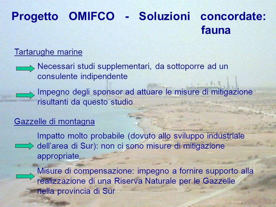 Tartarughe marine Gazzelle di montagna Necessari studi supplementari, da sottoporre ad un consulente indipendente Impegno degli sponsor ad attuare le