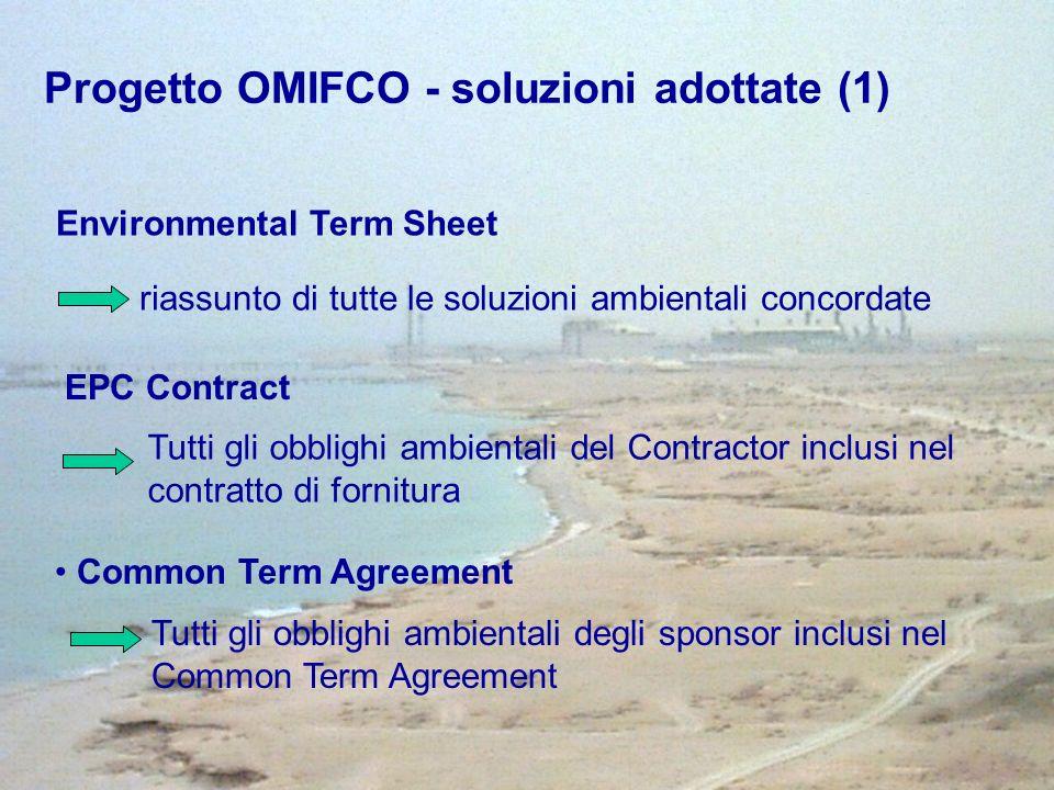 EPC Contract Tutti gli obblighi ambientali del Contractor inclusi nel contratto di fornitura Common Term Agreement Tutti gli obblighi ambientali degli sponsor inclusi nel Common Term Agreement Environmental Term Sheet riassunto di tutte le soluzioni ambientali concordate Progetto OMIFCO - soluzioni adottate (1)