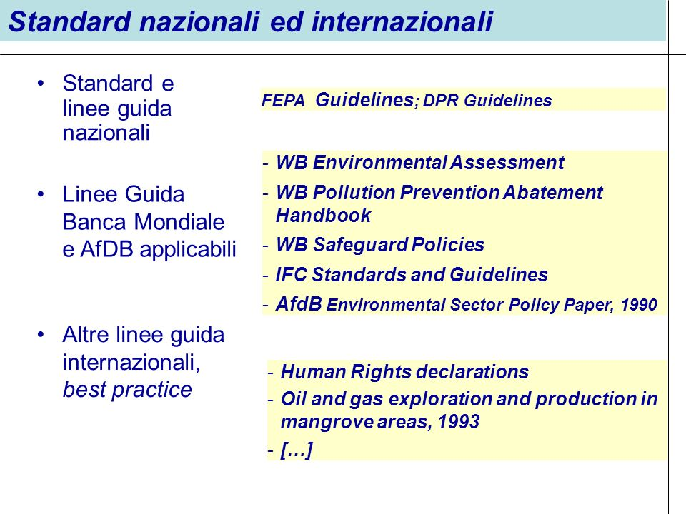 Standard e linee guida nazionali Standard nazionali ed internazionali FEPA Guidelines ; DPR Guidelines Linee Guida Banca Mondiale e AfDB applicabili -WB Environmental Assessment -WB Pollution Prevention Abatement Handbook -WB Safeguard Policies -IFC Standards and Guidelines -AfdB Environmental Sector Policy Paper, 1990 Altre linee guida internazionali, best practice -Human Rights declarations -Oil and gas exploration and production in mangrove areas, 1993 -[…]