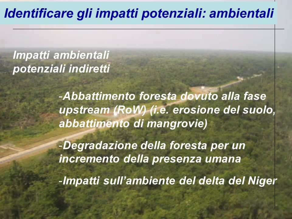 -Abbattimento foresta dovuto alla fase upstream (RoW) (i.e. erosione del suolo, abbattimento di mangrovie) -Degradazione della foresta per un incremen