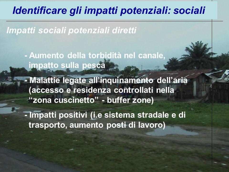 Impatti sociali potenziali diretti - Aumento della torbidità nel canale, impatto sulla pesca - Malattie legate allinquinamento dellaria (accesso e res
