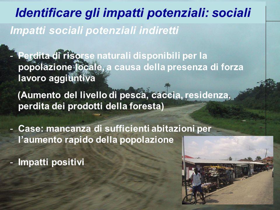 Impatti sociali potenziali indiretti -Perdita di risorse naturali disponibili per la popolazione locale, a causa della presenza di forza lavoro aggiun