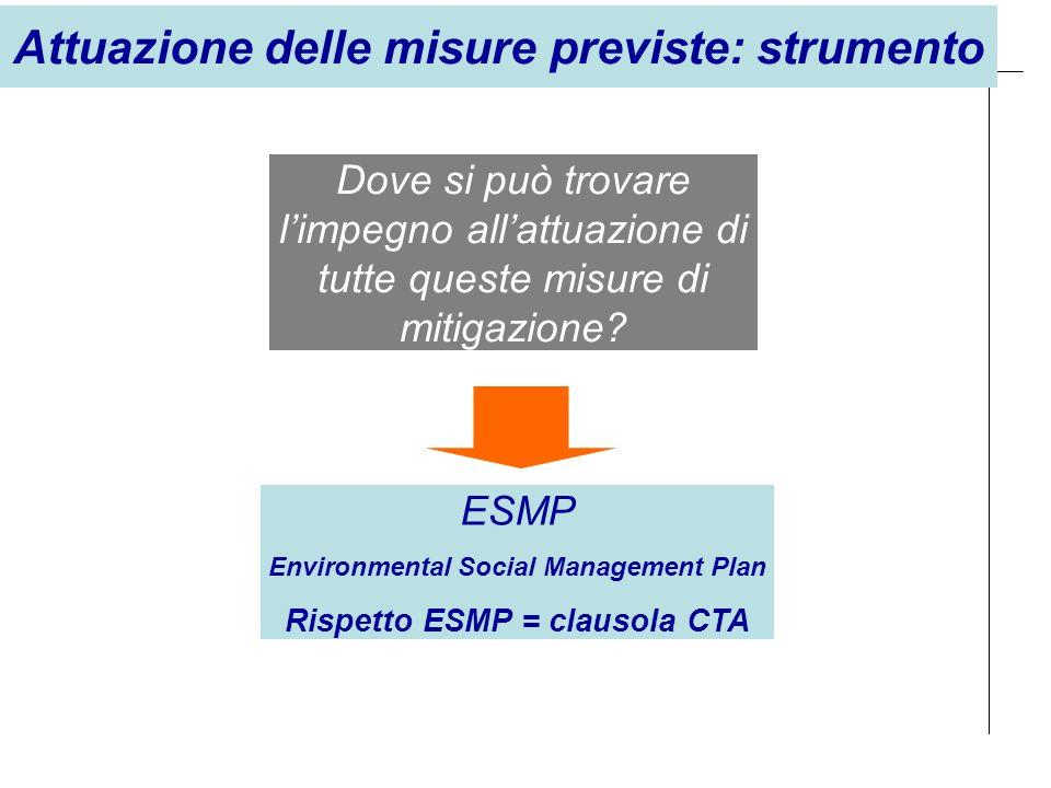 Dove si può trovare limpegno allattuazione di tutte queste misure di mitigazione? ESMP Environmental Social Management Plan Rispetto ESMP = clausola C