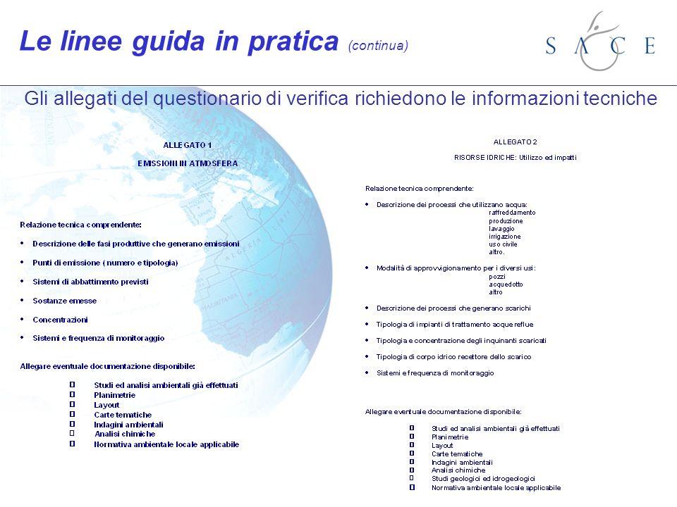 Gli allegati del questionario di verifica richiedono le informazioni tecniche Le linee guida in pratica (continua)