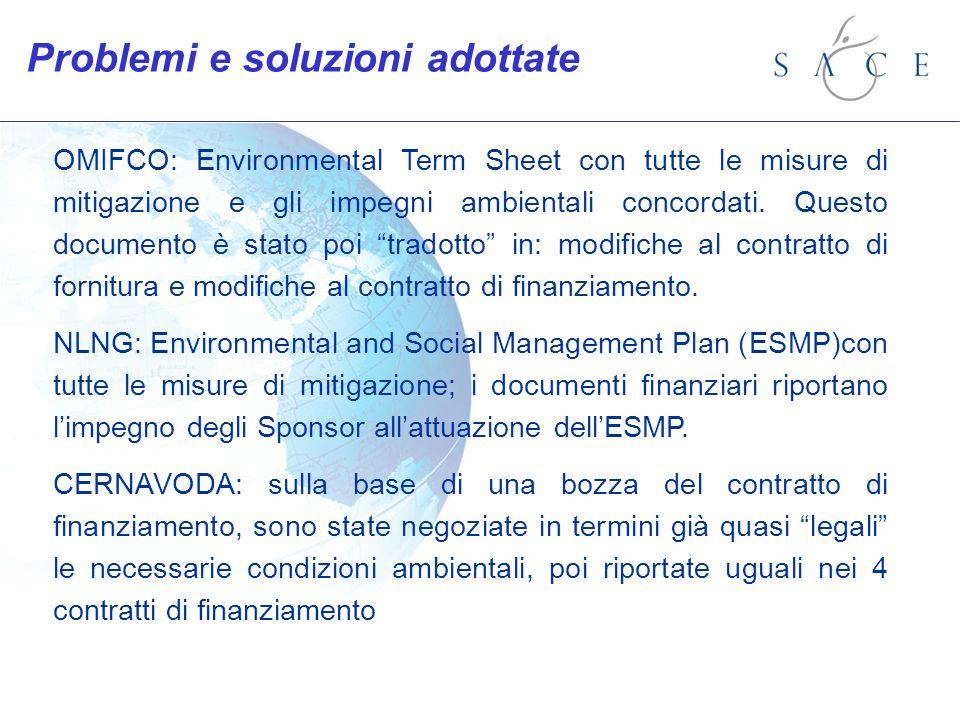 OMIFCO: Environmental Term Sheet con tutte le misure di mitigazione e gli impegni ambientali concordati. Questo documento è stato poi tradotto in: mod