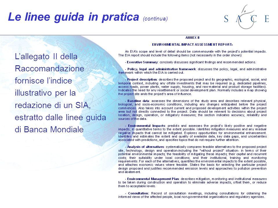 Lallegato II della Raccomandazione fornisce lindice illustrativo per la redazione di un SIA, estratto dalle linee guida di Banca Mondiale Le linee guida in pratica (continua)