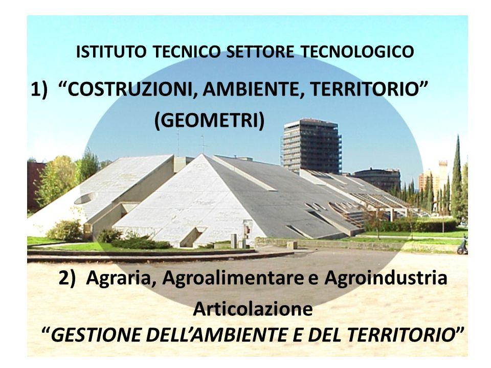 ISTITUTO TECNICO SETTORE TECNOLOGICO 1)COSTRUZIONI, AMBIENTE, TERRITORIO (GEOMETRI) 2) Agraria, Agroalimentare e Agroindustria ArticolazioneGESTIONE D