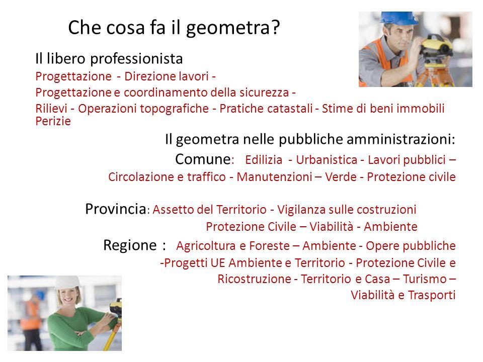 Che cosa fa il geometra? Il libero professionista Progettazione - Direzione lavori - Progettazione e coordinamento della sicurezza - Rilievi - Operazi