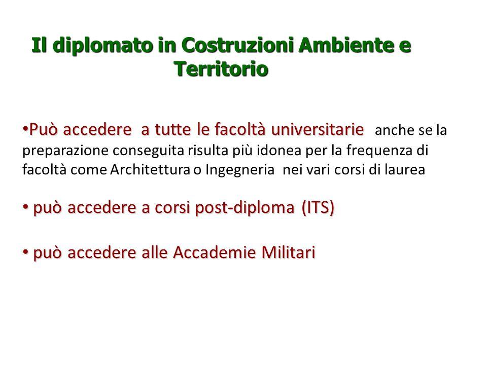 Il diplomato in Costruzioni Ambiente e Territorio Può accedere a tutte le facoltà universitarie Può accedere a tutte le facoltà universitarie anche se